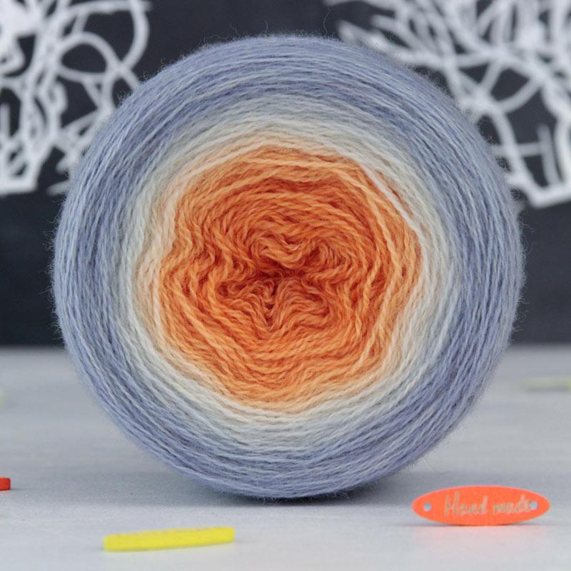 Пряжа Lace *Градиент Серо-оранжевый